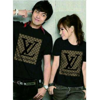 couple store cs - kaos pasangan / t-shirt couple LV black