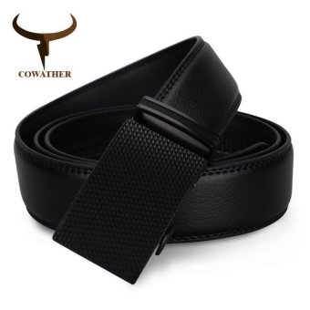 COWATHE Men's Cow Genuine Leather Automatic Buckle Belt 100% CowGenuine Leather Belt Solid Buckle Strap Causal with AutomaticLeather Ratchet Belt for Men New Alloy Buckle Black S-XXL - intl