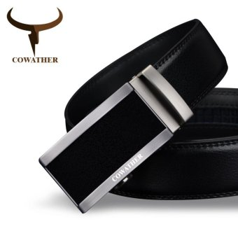 COWATHER Sabuk Kulit Sapi Putra Asli Men's Cow Genuine Leather Belt Automatic Buckle Belt Solid Buckle Strap Causal with Automatic Leather Ratchet Belt for Men New Alloy Buckle Black S-XXL - intl