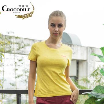 Beli Crocodile Perempuan baru Slim leher bulat lengan pendek t-shirt (Kuning) Online