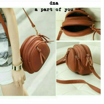 Cross Body & Shoulders Bags / Sling Bag / Tas Selempang HalfCircle Front Zip (Brown)