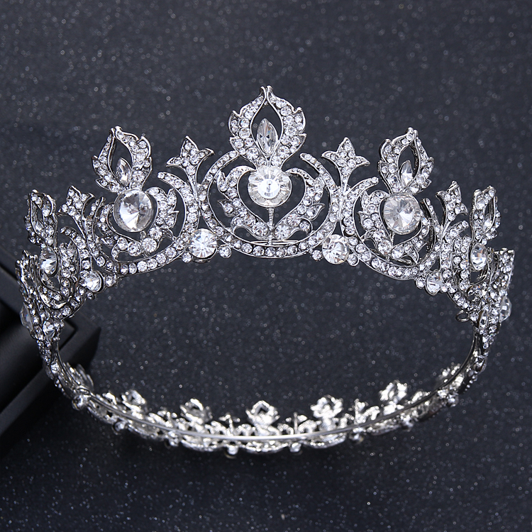 Crown Batu Kristal Air Bergaya Eropa Mempelai Wanita Besar Perhiasan
