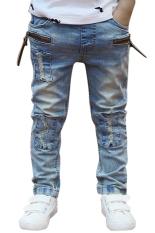 Cyber Celana Denim Celana Jeans Anak Cowok Ikat Elastis (Biru)