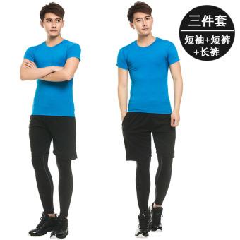 Beli Dalam ruangan laki-laki baru cepat kering lengan pendek kebugaran  pakaian kebugaran pakaian (Celana pendek legging celana panjang 3212 biru  lengan ... 511cfec23a