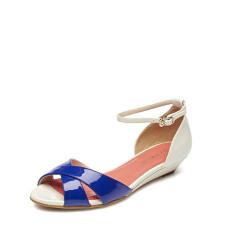 Daphne lereng rendah dengan kata gesper kasual sepatu sandal sepatu (Safir biru 133)