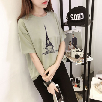 Days tide Korean-style summer LOOESN short sleeved t-shirt (661 (hijau))
