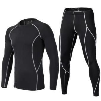 Ditambah beludru basket sepak bola bottoming cepat kering pakaian pakaian Workout lengan panjang celana ketat (Hitam dengan garis abu-abu lengan panjang jas)