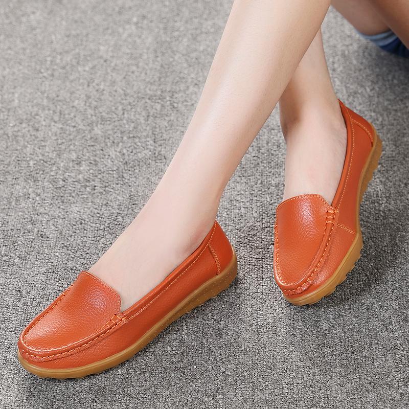 Ditambah beludru sepatu datar ibu sepatu (6708 jeruk)