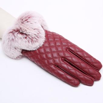 Ditambah beludru wanita musim dingin tebal musim dingin yang hangat sarung tangan kulit sarung tangan (