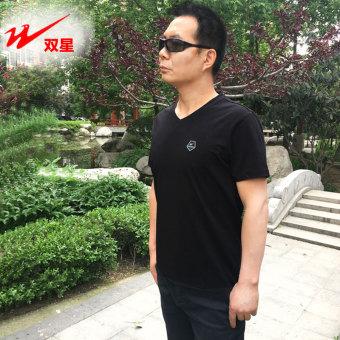 Beli Double Star lengan pendek pria v-neck lengan pendek t-shirt (Hitam)  Online dd66d3e85f