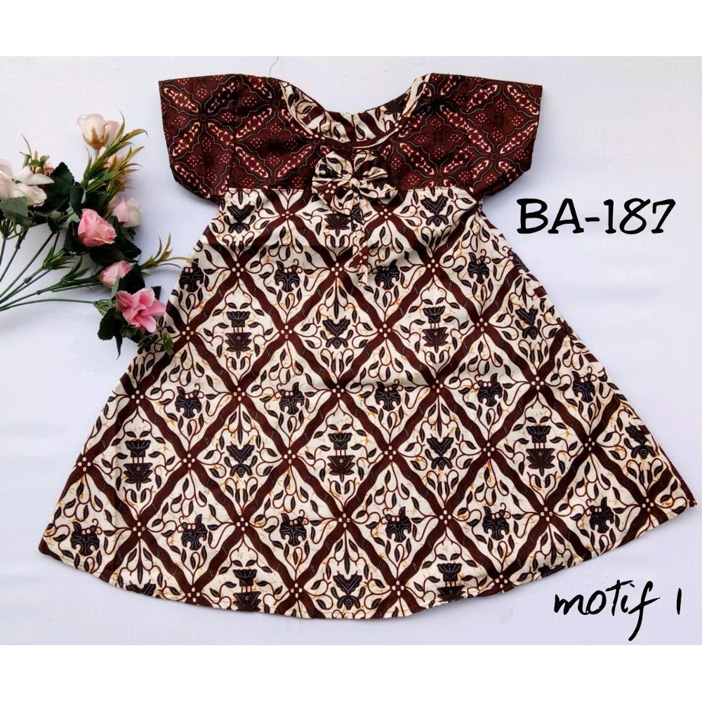 dress batik anak bahan katun BA187 motif 1