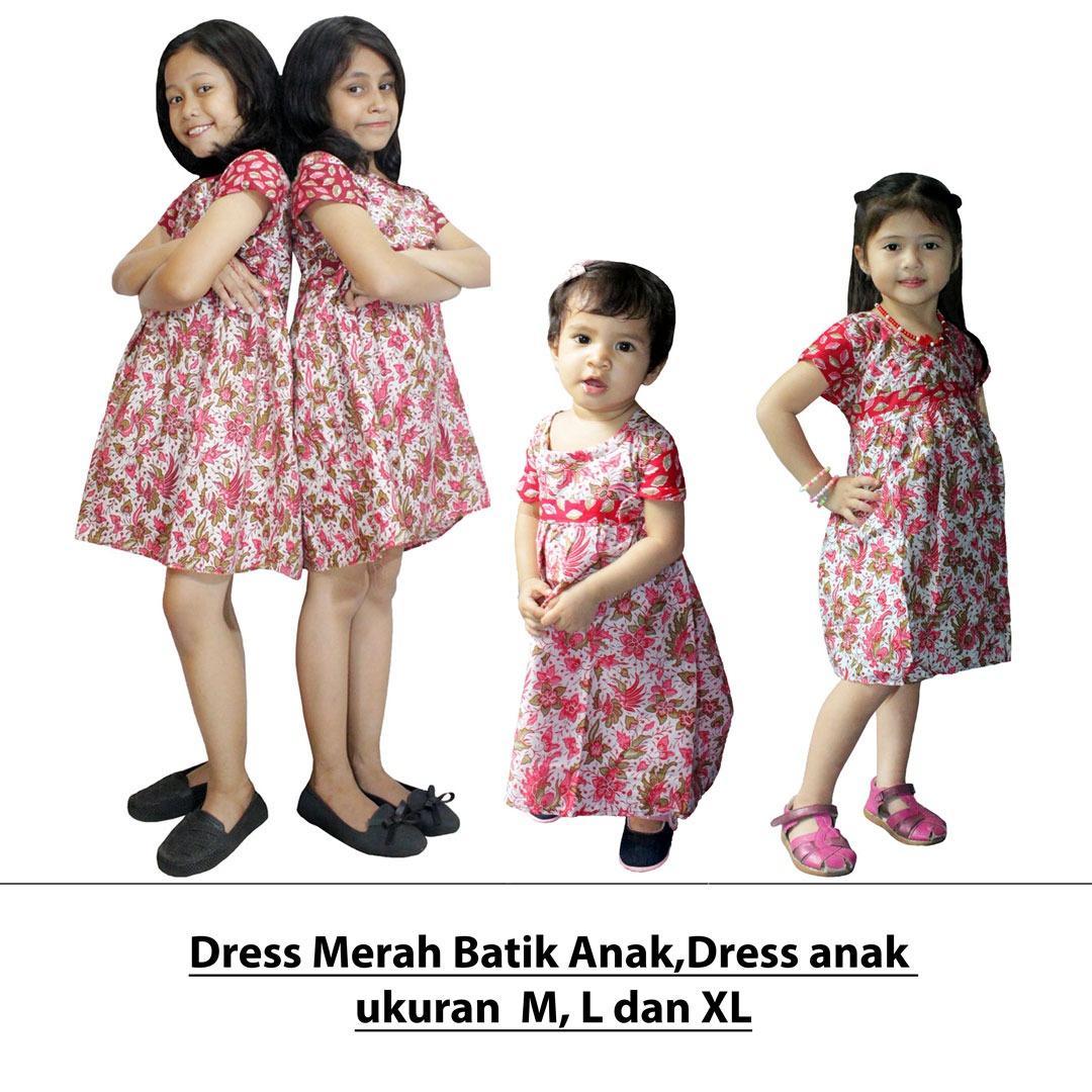 Dress Merah Batik Anak, Baju Tidur Anak Ukuran M, Untuk Usia 6 Bulan - 2 Tahun (DKA001-01)