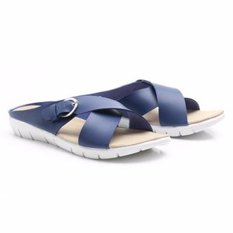 Dr.Kevin Women Flat Sandals Pu Leather 27350 Navy