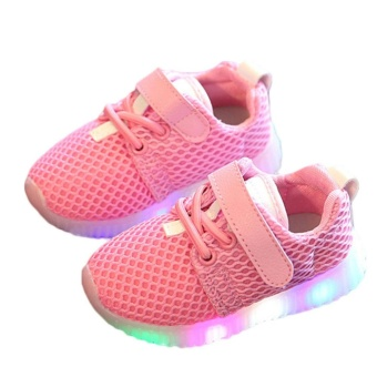 Eachgo Kids Unisex Casual Shoes LED Light Up Luminous Children Trainers Sport Sneakers ( Pink) - intl