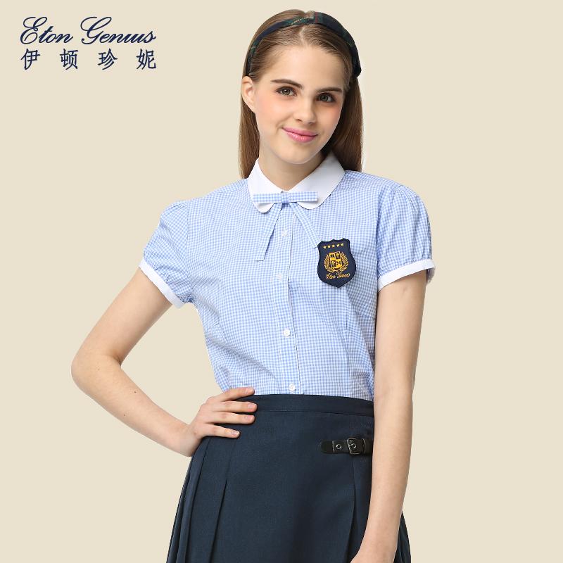 EATON Inggris gelembung lengan pendek boneka kerah Slim wanita baju kemeja kemeja (Light Blue putih