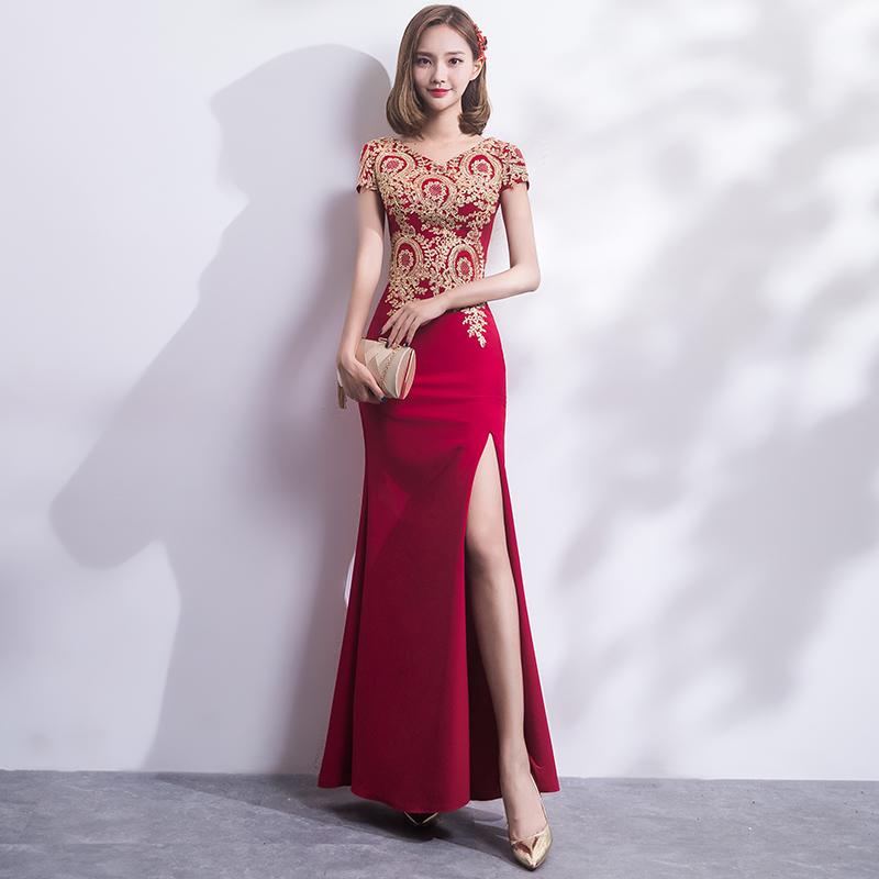 Beli Elegan Mahal Baru Tipis Dan Panjang Bagian Rok Gaun Pesta Gaun