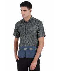 Elfs Shop - Kemeja Batik Formal Pria Lengan Pendek Semi Satin 8F17004-Biru Tua