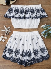 Embroidered Crop Top With Shorts - intl