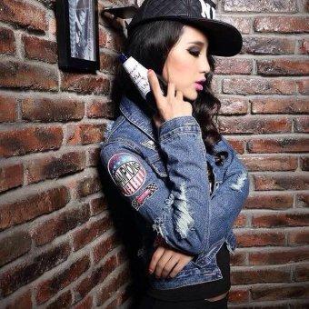Embroidered denim jacket women jacket fashion Basic Coats Jacketswomen clothing -blue - intl