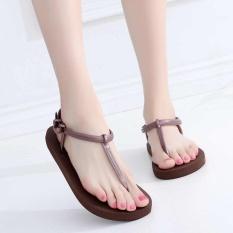 EP Wanita Ladies Fashion Kasual Flat Sandal Pantai Shoes Sandal-Kopi-Intl