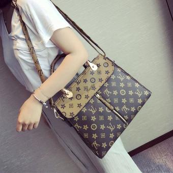 Eropa dan Amerika baru mencetak tas tas tas wanita (Khaki)