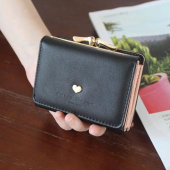 Eropa dan Amerika perempuan di Jepang Korea Fashion Style dompet tipis wanita wallet (Hitam)