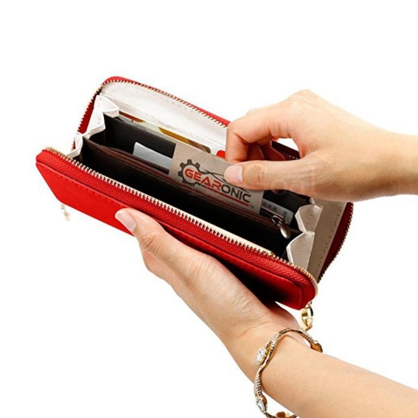 EsoGoal 2017 busana wanita Clutch kulit panjang dompet tempat kartu dompet busur tas .