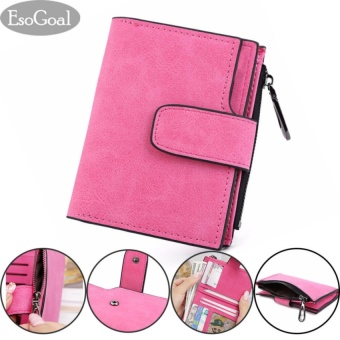 Harga EsoGoal Fashion Women Frosted Buckle Short Wallet , Rose Red - intl