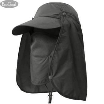 EsoGoal Summer Sun Hat Protection Caps Flap 360?Outdoor Fishing Hat with Removable Neck Face Flap Cover, UPF 50+ Cap For Men And Women (Army Green) - intl