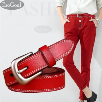 EsoGoal Women's Leather Waist Belt Ladies Casual Belts with Brushed Alloy for Jeans Shorts Pants (Red) - intl