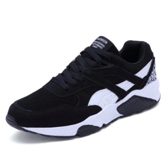 Fashion Casual Men Lace Up Running Sneakers Shoes (EU39-44)BLACK) -intl