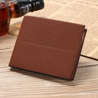Fashion dompet kulit pendek kecil untuk pria Vintage timbul wadah uang kartu kredit - 3