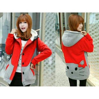 FASHION FLOWER-JAKET WANITA HELLO KITTY -MERAH