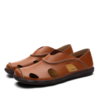 Fashion Leather Casual Men Sandals Shoes (BROWN)