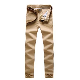 Fashion Men Slim Fit Straight-Leg jeans Trousers Casual pencil Business Pants-Khaki