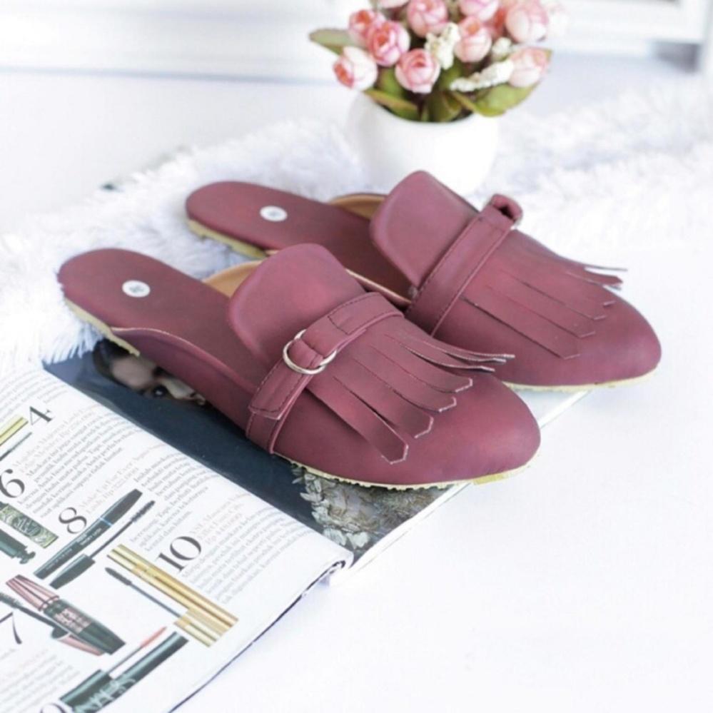 Fashion Sandal Selop Wanita Rumbai Maroon