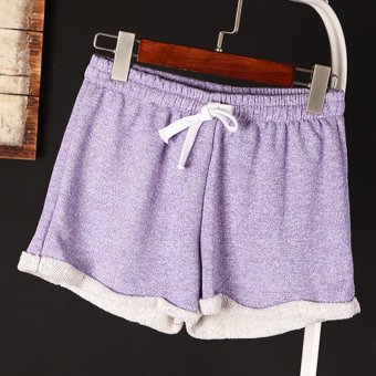 Fashion Summer Women Elastic Waist Tunic Drawstring Elegant Beach Sport Pocket Cuffs Casual Shorts