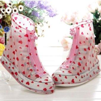 Fashion tahan air Guard Slip-resistant Wanita Perempuan Sepatu Covers - merah hati / ukuran: L