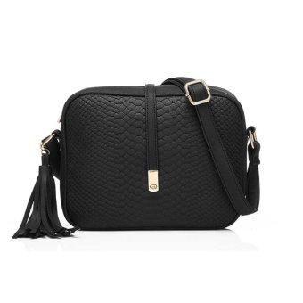 Fashion tas kecil selempang bahu rumbai wanita kulit PU + dompet kecil berlubang daun (hitam + cokelat kehitaman) - 3