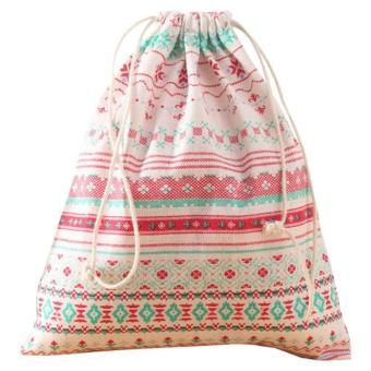 Fashion Unisex Backpacks Printing Bags Drawstring Backpack Pink - intl