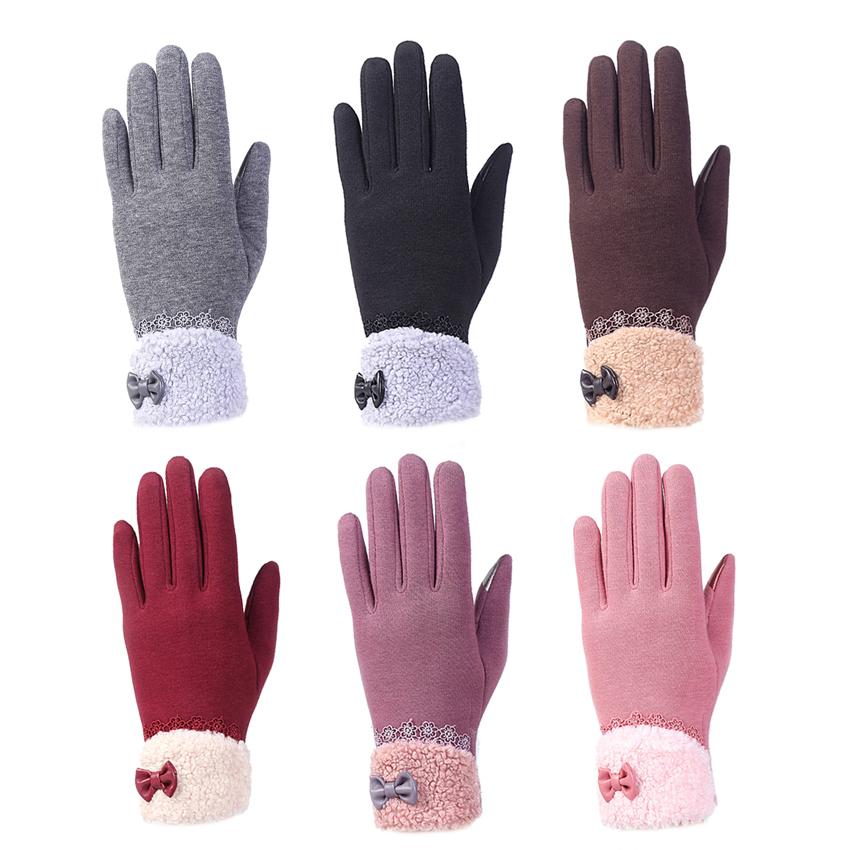 Fashion wanita kolam musim dingin hangat klik sarung tangan layarsentuh (abu-abu) .