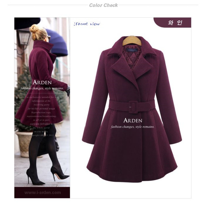 Fashion wanita musim dingin wol campuran rantai panjang atasan jashujan jaket ukuran lebih .