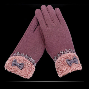Fashion Women Outdoor Winter Warm Click Touch Screen Gloves(Purple) - intl - 2