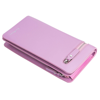 Fashion Women PU Leather wallet Zipper Coin Purse clutch wallet (Light Pink)