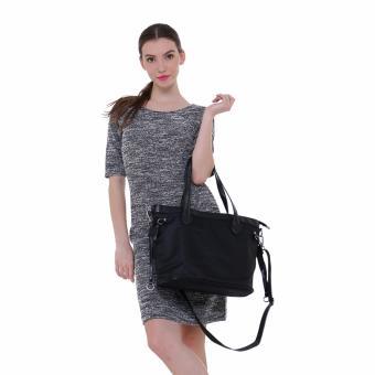 Fashionity Women Nylon Waterproof Tote Bag DM 2062 Black - Tas Wanita - 2