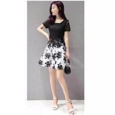 fashionshop dress Flower Hitam/ Dress Korea / Dress Renda / Dress Brukat / Dress Midi