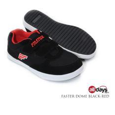 Faster Sepatu Sneaker Sekolah Anak Laki Laki Velcro DOME - Black/Red
