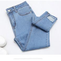 Female New style high-waisted irregular pants cowboy pants (Cahaya biru)