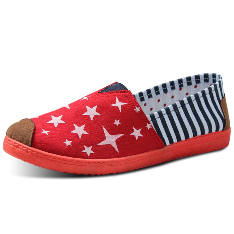 FIRELOVE musim panas mulut dangkal kanvas sepatu fashion sepatu wanita (Merah H1)