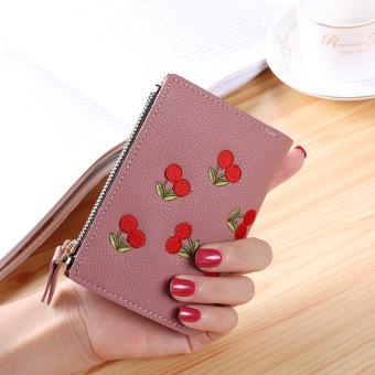 Flamingo perempuan baru mini dompet mahasiswa dompet kecil (Talas ungu-tenunan polos cherry)